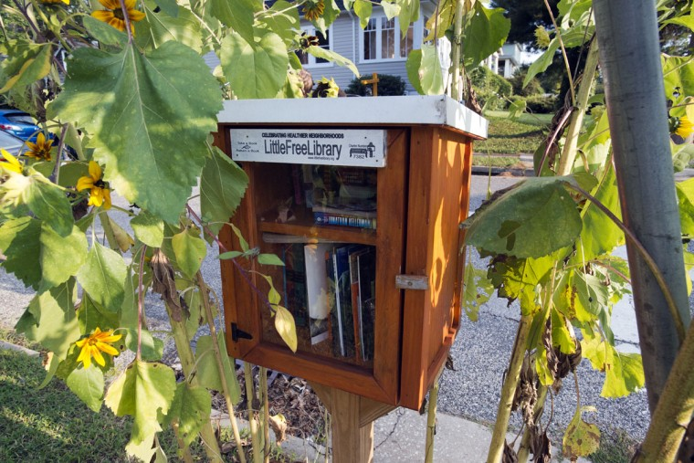 A Little Free Library sits on the corner of St. Dustans Rd. and Clearspring Rd. (Emma Patti Harris/Baltimore Sun)