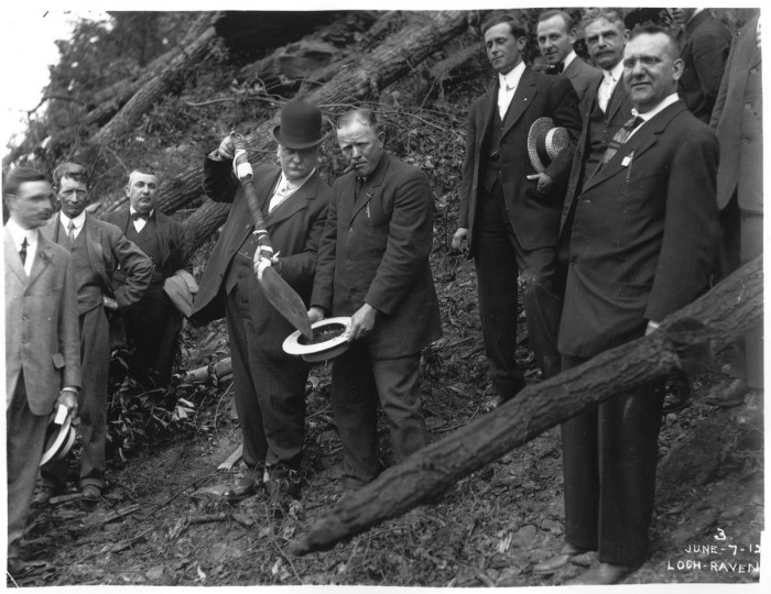 Groundbreaking at the Lock Raven dam in 1912. (Photo courtesy of the Baltimore Department of Public Works)