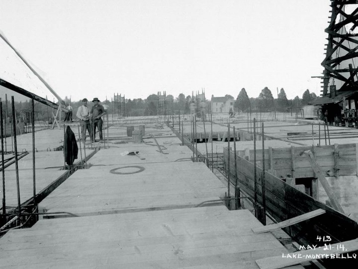 A view of construction at Lake Montebello on May 21, 1914. (Photo courtesy of the Baltimore Department of Public Works)