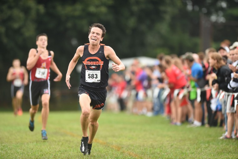 McDonogh sophomore Dalton Hengst sprints to the finish to secure second place in the boys varsity race during the Barnhart Invitational cross country meet at Dulaney High School on Saturday, Sept. 12. (Brian Krista/BSMG)