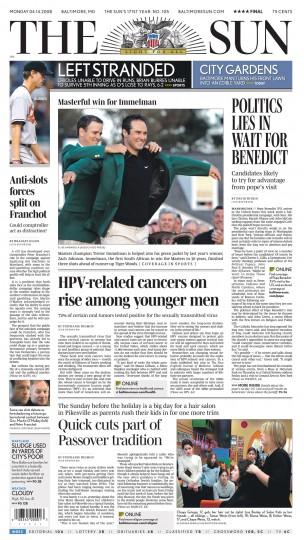 Baltimore Sun front page, April 14, 2008.