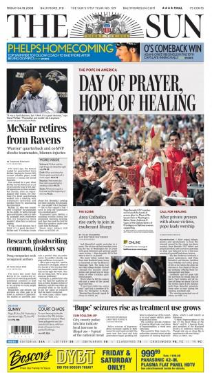 Baltimore Sun front page, April 18, 2008.