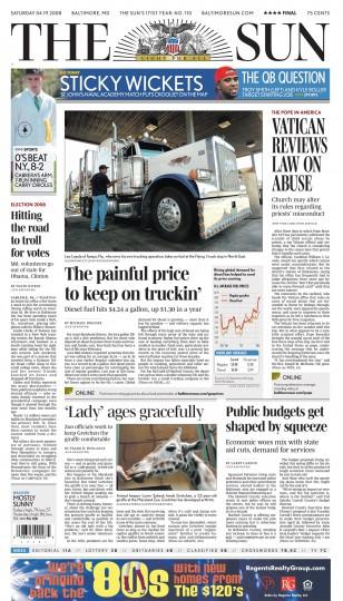 Baltimore Sun front page, April 19, 2008.