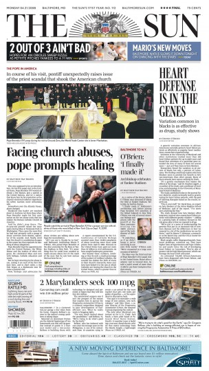 Baltimore Sun front page, April 21, 2008.