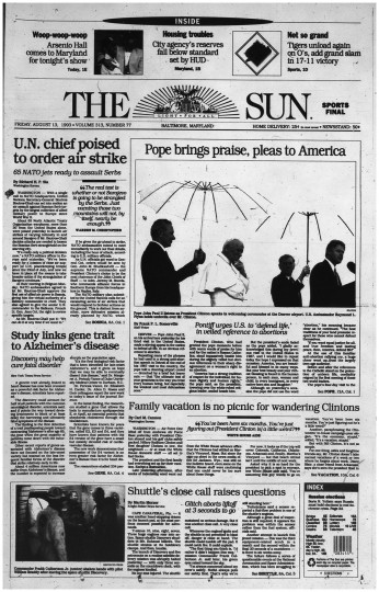Baltimore Sun front page, Aug. 13, 1993.