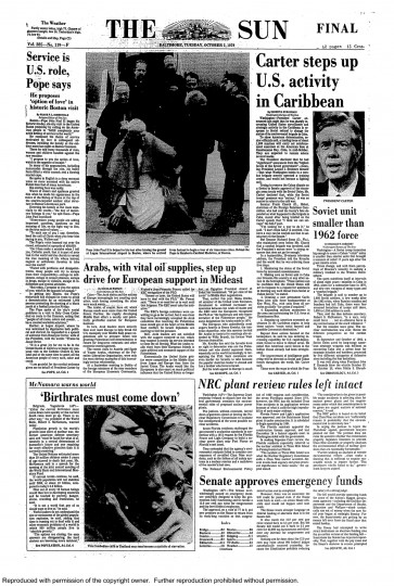 Baltimore Sun front page, Oct. 2, 1979.