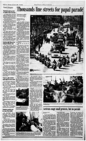 Thousands line streets for papal parade (Oct. 9, 1995)