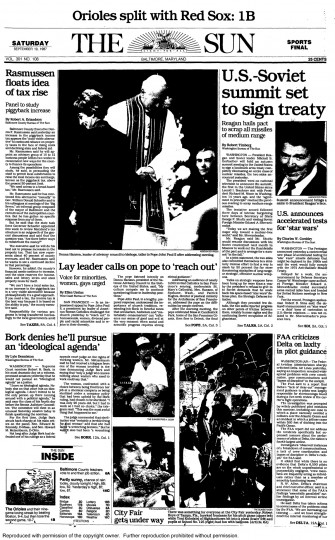 Baltimore Sun front page, Sept. 19, 1987.