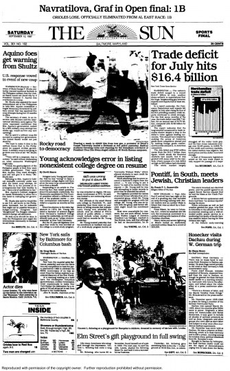 Baltimore Sun front page, Sept. 12, 1987.