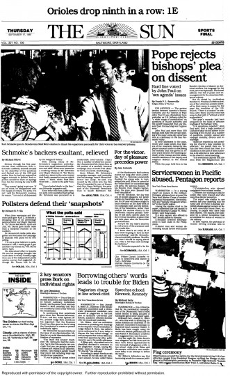 Baltimore Sun front page, Sept. 17, 1987.