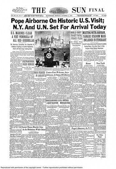 Baltimore Sun front page, Oct. 4, 1965.