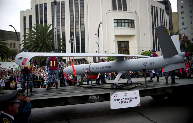 An Israeli-made Mexican Air Force Hermes 450 UAV (Unmanned Aerial Vehicle) is displayed during a military parade to commemorate the 205th anniversary of Mexico's Independence, in Mexico City, on September 16, 2015. (YURI CORTEZ/AFP/Getty Images)