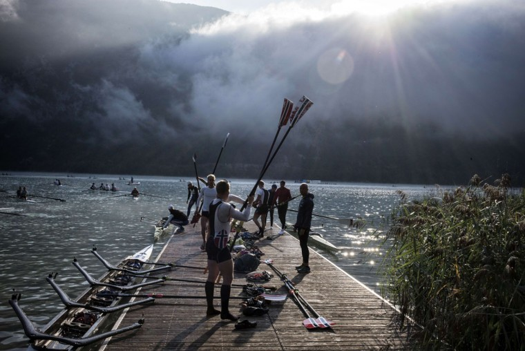 Rowers prepare their gear on September 4, 2015 in Aiguebelette-Le-Lac, during the 2015 World Rowing Championships. (JEFF PACHOUD/AFP/Getty Images)