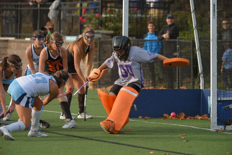 McDonogh Eagles goalkeeper Nadia Hyatt fails to stop Garrison Forest Grizzlies' only goal, a feed from forward Kara Frazier to midfielder/forward Evie Sarkes (27) during the IAAM A Conference semifinals. The Eagles advanced with a 3-1 score. (Karl Merton Ferron/Baltimore Sun)