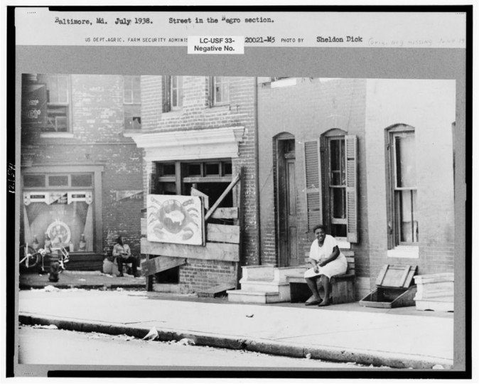 """""""Street in Negro section, Baltimore, Maryland."""" Sheldon Dick, July 1938"""