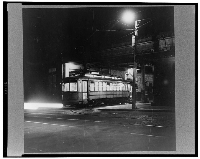 """Trolley leaving the terminal at night"""