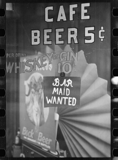 Restaurant sign on Baltimore street. (Arthur Rothstein / April 1939)