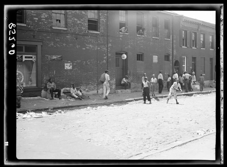 """""""Street in slum area."""" John Vachon, July 1938"""