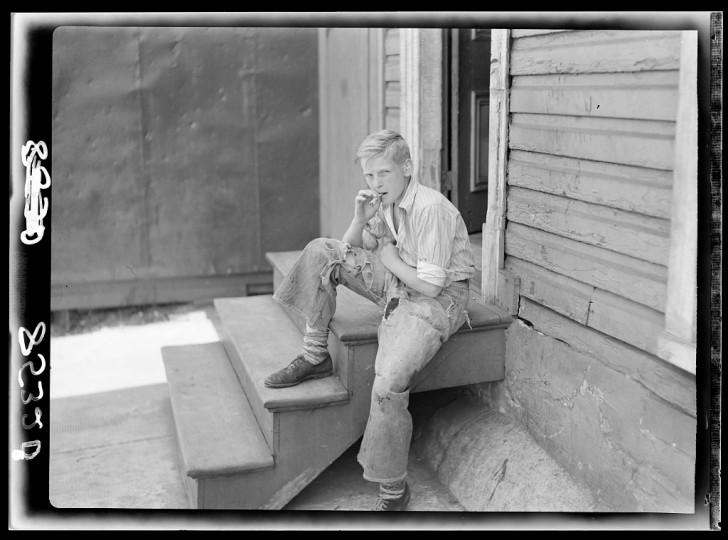 """""""Young boy in Baltimore slum area."""" John Vachon, July 1938"""