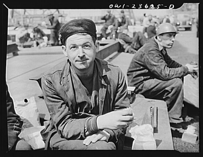 """Bethlehem-Fairfield shipyards, Baltimore, Maryland. Lunch time."" Arthur S. Siegel, May 1943"