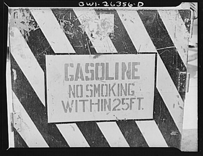 Bethlehem-Fairfield shipyards, Baltimore, Maryland. A safety sign concerning gasoline truck. (Arthur S. Siegel / May 1943)
