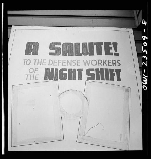 Bethlehem-Fairfield shipyards, Baltimore, Maryland. A shipyard sign. (Arthur S. Siegel / May 1943)