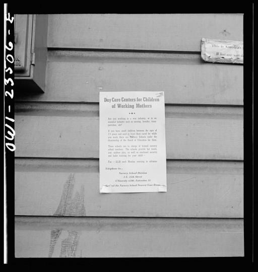 Bethlehem-Fairfield shipyards, Baltimore, Maryland. Workers' nursery sign. (Arthur S. Siegel / May 1943)