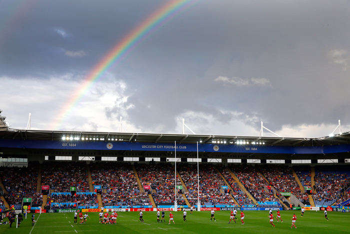 A rainbow shines over the stadium during the 2015 Rugby World Cup Pool D match between Canada and Romania at Leicester City Stadium on Tuesday in Leicester, United Kingdom. (Stu Forster/Getty Images)