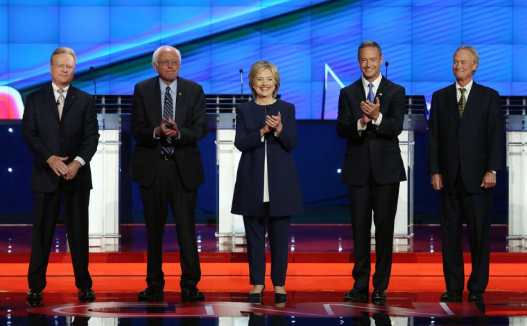 Democratic presidential candidates Jim Webb, Sen. Bernie Sanders (I-VT), Hillary Clinton, Martin O'Malley and Lincoln Chafee take the stage for a presidential debate sponsored by CNN and Facebook at Wynn Las Vegas on October 13, 2015 in Las Vegas, Nevada. The five candidates are participating in the party's first presidential debate. (Photo by Joe Raedle/Getty Images)