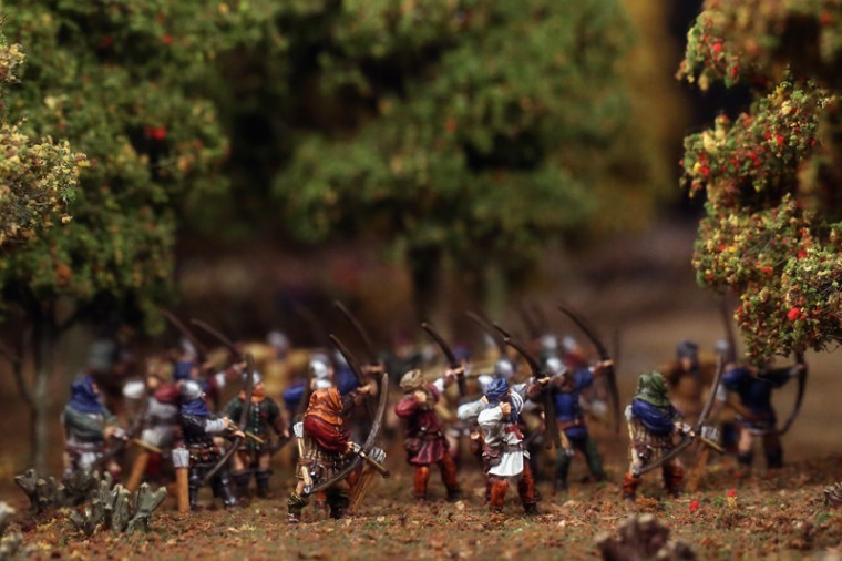 A close-up of miniature figures taking part in the Battle of Agincourt, containing over 40,000 scale model figures on a detailed diorama of the battlefield during a press preview at a new exhibition commemorating the 600th anniversary of the battle, at the Tower of London, on Thursday in London. The exhibition, in conjunction with the Royal Armories, features rare and iconic objects from the collections of the Royal Armories. The exhibition runs until Jan. 31 in the White Tower at the Tower of London.  (Dan Kitwood/Getty Images)