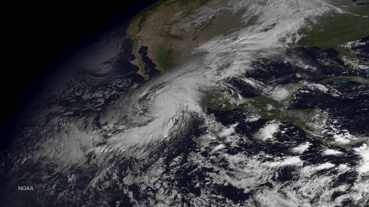 In this handout from the National Oceanic and Atmospheric Administration (NOAA), Hurricane Patricia is seen churning in the Pacific on October 23, 2015.  The now category 5 hurricane is heading towards Mexico and is being called the strongest hurricane ever recorded in the western hemisphere.  (Photo by NOAA via Getty Images) ORG XMIT: 544019915