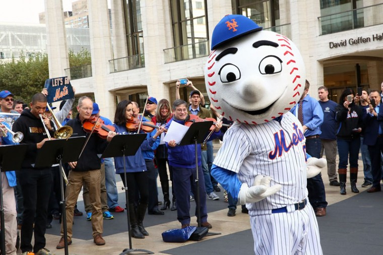 "Met Opera and Mr. Met perform ""Meet the Mets"" at Lincoln Center Plaza on Tuesday in New York City.  (Astrid Stawiarz/Getty Images)"