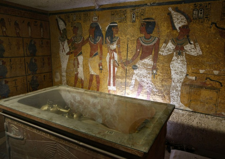 A file picture taken on November 4, 2007 shows the sarcophagus of King Tutankhamun, known as the 'Child Pharaoh' in its burial chamber after the mummy was placed in a glass urn designed to protect the remains of the ancient king from humidity and other contamination brought by a constant flow of over 350 visitors a day in his tomb in the Valley of the Kings, close to Luxor, a town 700 kilometres (435 miles) south of the Egyptian capital, Cairo. The tomb of the legendary Egyptian Pharaoh Tutankhamun, will be closed for restoration starting in October the Egyptian Minster of Antiquities announced on September 20, 2015. (CRIS BOURONCLE/AFP/Getty Images)