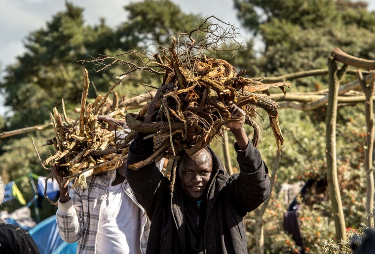 """Migrants carry bundle of sticks at a site dubbed the """"New Jungle"""" in Calais on September 19, 2015. (PHILIPPE HUGUEN/AFP/Getty Images)"""