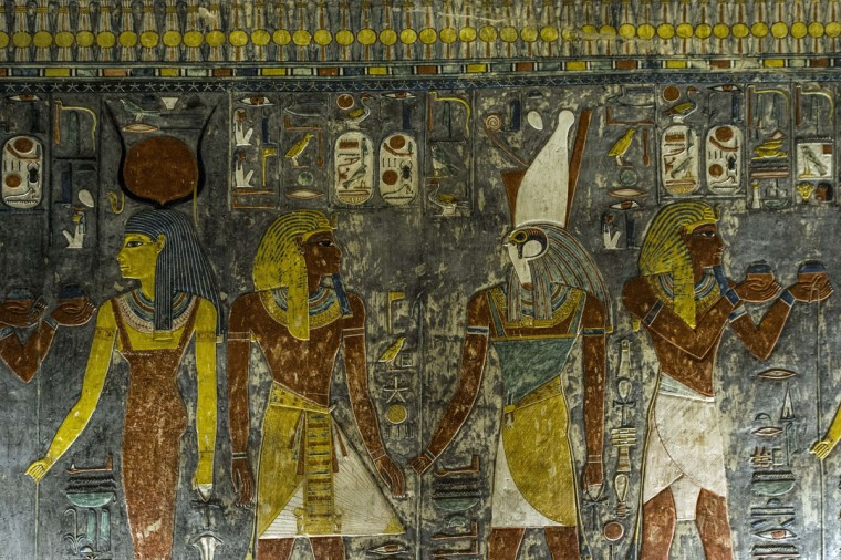 A picture taken on September 29, 2015 shows a relief on the wall inside Horemheb tomb at the Valley of the Kings, close to Luxor, 500 kms south of Cairo, during a media visit. (KHALED DESOUKI/AFP/Getty Images)