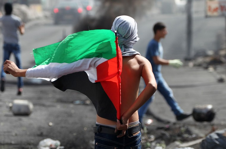 "A Palestinian holds a national flag during clashes with Israeli security forces on October 13, 2015 near the Jewish settlement of Beit El, just north of the West Bank city of Ramallah. Prime Minister Benjamin Netanyahu said that Israel would use ""all means"" available to end Palestinian violence and that new security measures were planned. (AFP Photo/Abbas Momani)"