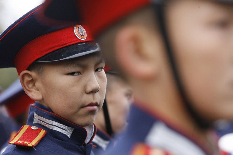 A cadet attends the 5th International Cossack Congress in the southern Russian city of Novocherkassk on October 14, 2015. Some 300 delegates from 26 countries participate in the three-day long event, according to local media. (AFP Photo/Sergei Venyavsky)