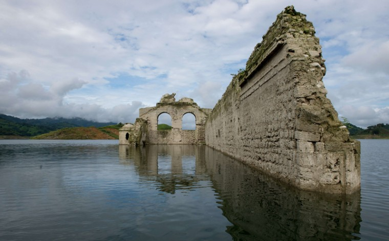 View of the Temple of Santiago, built in the 16th century by Dominican monks in the town of Quechula, which has been partially exposed due to the lowering of the water level of the Malpaso dam in Chiapas state on Wednesday. (MARIO VAZQUEZ DE LA TORRE/AFP/Getty Images)