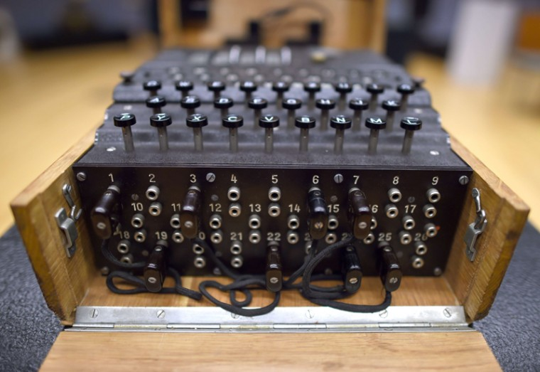 "A rare and fully-functional German Naval four-rotor Enigma enciphering machine is viewed at Bonhams New York on Thursday. The machine that headlined the auction ""Conflicts of the 20th Century"" at Bonhams New York on Wednesday sold for for $365,000, including premium, which set a world-record.  Representing the scarcest of the German enigma machines, the M4 was built in 1943-45 and up to 150 machines survived from the approximately 1,500 built. (TIMOTHY A. CLARY/AFP/Getty Images)"