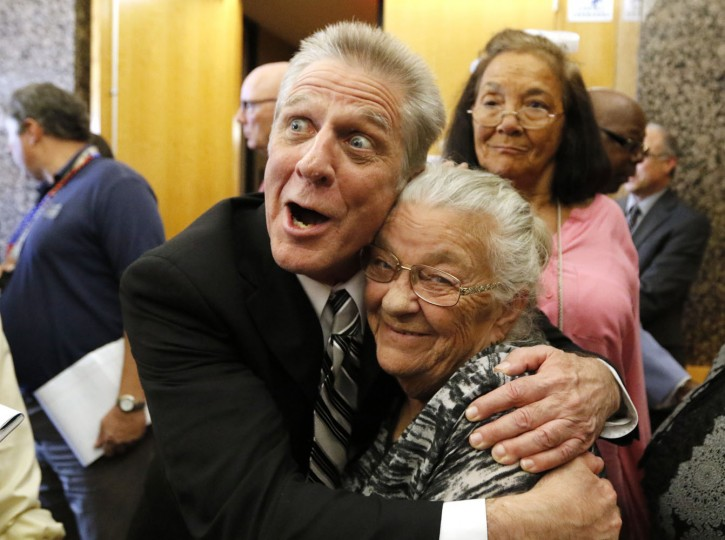 Steven Mark Chaney hugs his mother, Darla Chaney after being released from prison on Monday, Oct. 12, 2015 at the Frank Crowley Criminal Courts Building in Dallas. Chaney, imprisoned for 28 years for the 1987 slayings of two people in Dallas was released after his conviction based on now-discredited bite-mark analysis was overturned by State District Judge Dominique Collins (David Woo/The Dallas Morning News via AP)