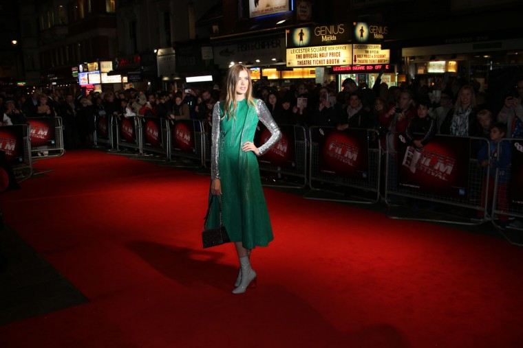 Agyness Deyn poses for photographers upon arrival at the premiere of the film 'Sunset Song', as part of the London film festival in London, Thursday, Oct. 15, 2015. ( Joel Ryan/Invision/AP)