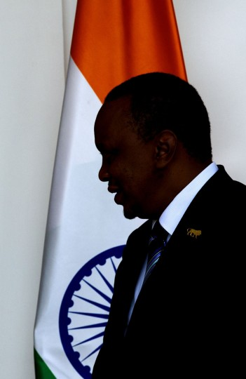 Kenyan President Uhuru Kenyatta arrives for a bilateral meeting on the sidelines of the India Africa Forum Summit in New Delhi, India, Wednesday, Oct. 28, 2015. More than 40 African leaders are in New Delhi for a summit, preceded by meetings of trade and foreign ministers from nearly all 54 African nations, to explore how Indian investment and technology can help a resurgent Africa face its development challenges. (AP Photo/Manish Swarup)