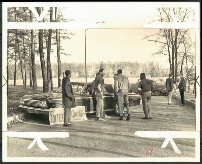March 30, 1968 - Students set up roadblocks at the endtrance to Bowie State College as they take over campus. (Baltimore Sun archives)