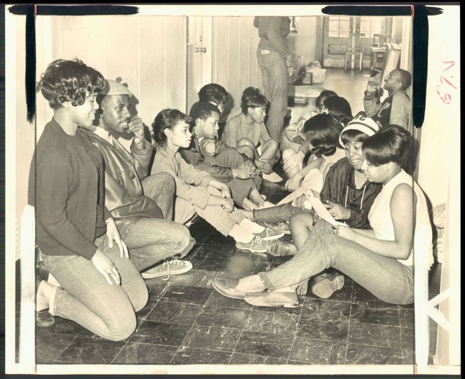 March 30, 1968 - STUDENTS SIT-IN AT BOWIE - Bowie State College students line the halls of the campus adminstration buliding as part of their protest against the condition of college facilitics and low State aid. Some 400 of the 592 students are involved in demonstrations. (Edward Nolan/Baltimore Sun)