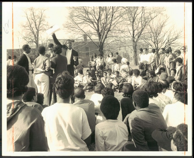 March 29, 1968 - TENSE CAMPUS -- Students at Bowie State College gather on the campus, scene of a two-day old boycott, Campus leaders conferred with Samuel J. Myers, Bowie president. (Lloyd Pearson/Baltimore Sun)