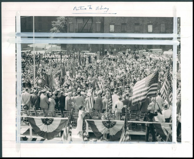 The procession of flags at the Flag House in Jonestown. (Baltimore Sun photo by Joshua S. Cosden, June 12, 1950)