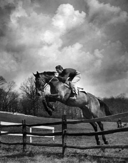 1950 - Training for Maryland amateur steeplechase is a 365-days-a-year job to Danny Brewster, gentleman jockey. (A. Aubrey Bodine/Baltimore Sun)