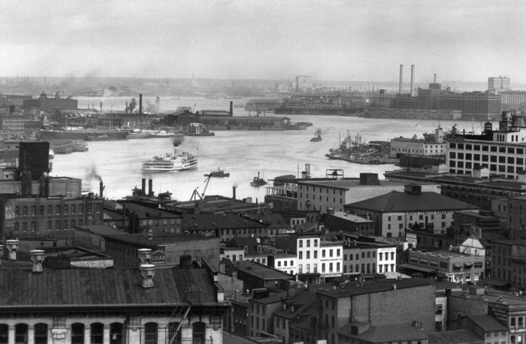 1938 - The Baltimore Harbor as seen from the Emerson Tower. (A. Aubrey Bodine/Baltimore Sun)