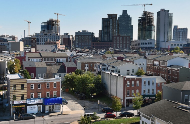 The Jonestown neighborhood, foreground, looking south from Attman's Deli, lower left, on Lombard Street on Oct. 6, 2015. (Baltimore Sun photo by Kenneth K. Lam)