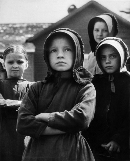 """1952 - """"Gentle People"""" Amish girls in St. Mary's County. (A. Aubrey Bodine/Baltimore Sun)"""